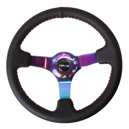 NRG Sport Steering Wheel (350mm) Black Leather/Red BBall Stitch w/Neochrome Spokes ST-036MC