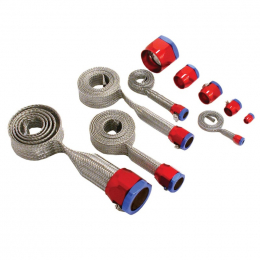 Spectre MagnaBraid 304SS Braided Sleeving Kit - Red/Blue End Caps 7490