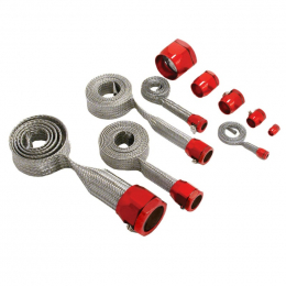 Spectre MagnaBraid 304SS Braided Sleeving Kit - Red End Caps 7492