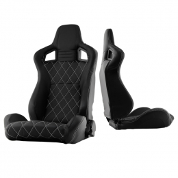 Xtune Scs Style Racing Seat Carbon Pu White X Black/Black Driver Side RST-SCS-05-BKWX-DR 9933974