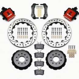 Wilwood Combination Parking Brake Rear Kit 12.88in Drilled Red Mustang 94-04 140-10158-DR