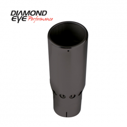 Diamond Eye TIP 5in INLET X 6in OUTLET VENTED/INTERCOOLER ROLLED ANGLE SLOTTED POLISHED SS BLACK 5616SVRA