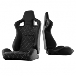 Xtune Scs Style Racing Seat Carbon Pu White X Black/Black Passenger Side RST-SCS-05-BKWX-PA 9933981