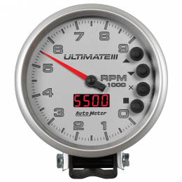 Autometer 5 inch Ultimate III Playback Tachometer 9000 RPM - Silver 6882