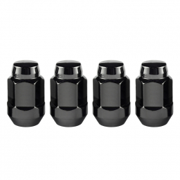 McGard Hex Lug Nut (Cone Seat Bulge Style) M12X1.5 / 3/4 Hex / 1.45in. Length (4-Pack) - Black 64015