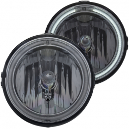 ANZO Driving Lights 2005-2009 Ford Mustang Euro FOG Lights Smoke w/ Halo (CCFL) 501041