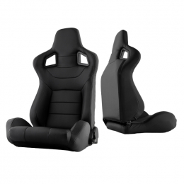 Xtune Scs Style Racing Seat Pu (Double Slider) Black/Black Driver Side RST-SCS-01-BK-DR 9933851