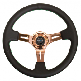 NRG Sport Steering Wheel (350mm / 3in. Deep) Blk Leather/Green Stitching & Rose Gold 3-Spoke Center ST-055R-RGGS