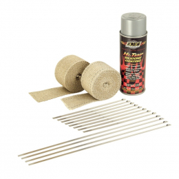 DEI Powersport Motorcycle Exhaust Wrap Kit - Tan wrap w/ Aluminum HT Silicone Coating 010331